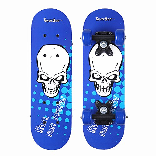 My Foremost Toy Skateboards for 3-5 Year Old Kids - 17 Inch Mini Wooden Complete Skateboards for Beginners with Skull Design by ToyerBee