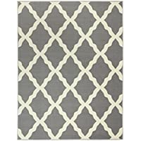 Ottomanson Glamour Collection Contemporary Moroccan Trellis Design Kids Lattice Area Rug (Non-Slip) Kitchen and Bathroom Mat Rug, 50 X 66, Grey
