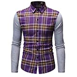 NUWFOR Men's Long Sleeve Lattice Painting Large Size Casual Top Blouse Shirts(Purple,L US Chest:42.5''
