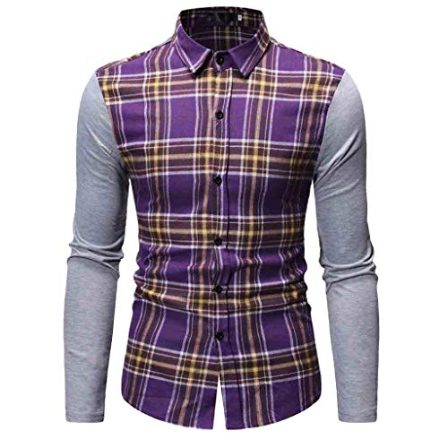 (YKARITIANNA Men's Long Sleeve Lattice Painting Patchwork Large Size Casual Top Blouse Shirts)
