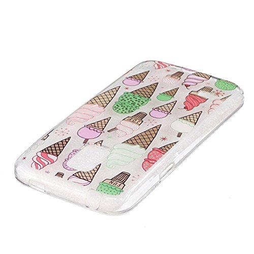 Samsung Galaxy A32016caso claro, caso de goma transparente para Samsung Galaxy A32016, Meet de clara prueba de golpes suave Durable resistente a los arañazos Jelly Goma TPU Funda Carcasa de Piel pa Cartoon ice cream