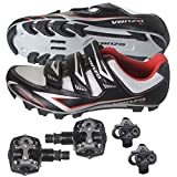 Venzo Mountain Bike Bicycle Cycling Shimano SPD Shoes + Pedals & Cleats 44(black)