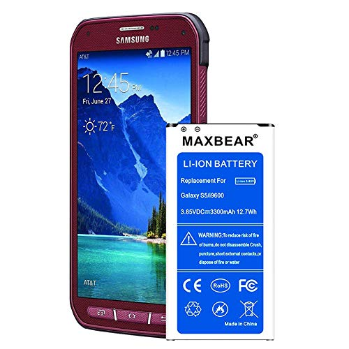 (Galaxy S5 Active Battery,MAXBEAR [3300mAh] Replacement Li-Ion Battery for Samsung Galaxy S5 Active SM-G870 (AT&T) & Galaxy S5 Sport SM-G860 (Sprint)| S5 Spare Battery [12 Month Warranty])