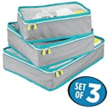 mDesign Versatile Travel Storage Organizer Cubes: Mesh Tops, Integrated Handles and Two-Way Zippers: Perfect for Packing Luggage/Suitcase and Carry-On – Set of 3, Gray/Teal Blue Trim, White Zipper