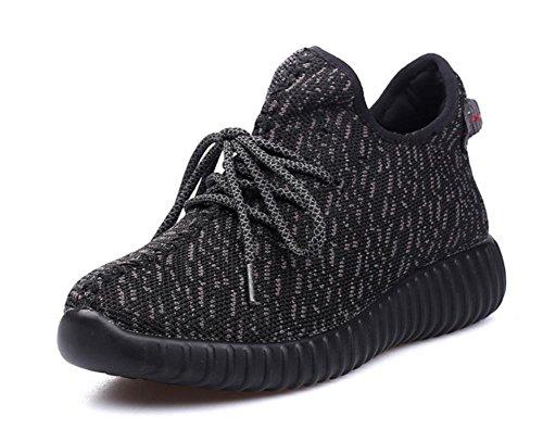 zapatos con cordones de los zapatos ocasionales de los deportes ligeros zapatos transpirables mujeres escoge los zapatos del elevador Sra otoño black