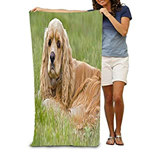"lingfa Bath Towel Soft Big Beach Towel 31""x 51"" American Cocker Spaniel Cooker Female Resting Grass Portrait 33"