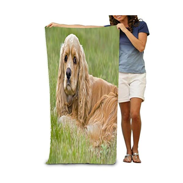 "lingfa Bath Towel Soft Big Beach Towel 31""x 51"" American Cocker Spaniel Cooker Female Resting Grass Portrait 1"