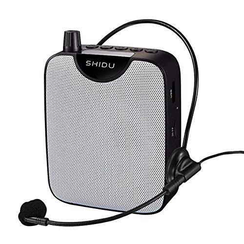 Portable Voice Amplifier Voice Recorder Mini PA System with Wired Headset Microphone, Loud Speakers Support Recording Funtion and U Disk/TF Perfect for Tour Guide, Teaching, Coaching, Presentations ()