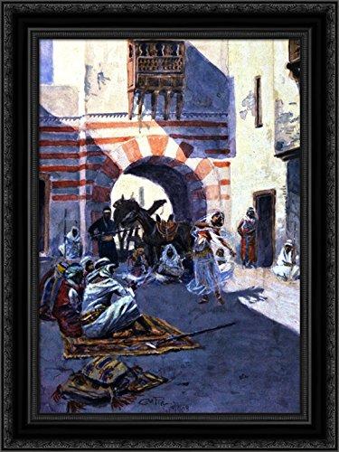 - Street Scene in Arabia 24x18 Black Ornate Wood Framed Canvas Art by Charles M. Russell