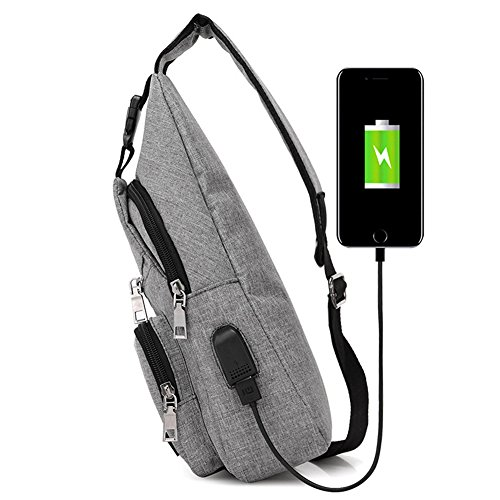 Men and Women Sling Backpack Chest Crossbody Bags Hiking Travel Backpack Daypack with USB Charging Port