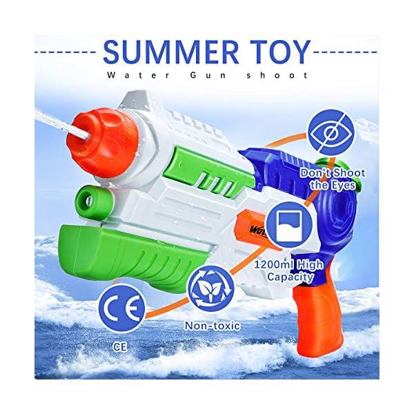 Ucradle Pistole ad Acqua Giocattolo, Squirt Gun per Bambini e Adulti, capacità 1200ML, Gamma di 8-10 Metri Summer… 2 spesavip