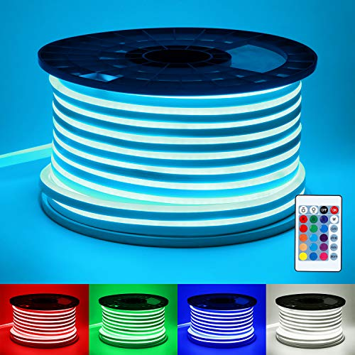 TORCHSTAR 65.6ft RGB LED Strip Light, 18 LEDs/ft, Waterproof DIY Neon Rope Light, All Necessary Accessories Included, Indoor & Outdoor Decorative Lighting for Home, Patio, Garden