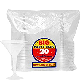 Amscan Plastic Martini Glasses, 8-Ounce, Clear, 20 Per Package 38 20 plastic martini glasses per package Each can hold up to 8 oz. of liquid Elegance of a glass, durable quality of a plastic