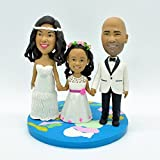 Wedding Bee DIY Wedding Topper,Custom Bride and Groom Wedding Cake Topper Family Cake Topper Spouses and Child Topper