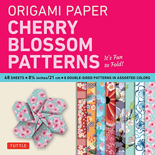 """Origami Paper- Cherry Blossom Patterns Large 8 1/4"""" 48 sh: Tuttle Origami Paper: High-Quality Double-Sided Origami Sheets Printed with 8 Different Patterns (Instructions for 5 Projects Included)"""