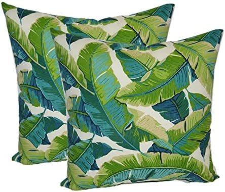 Resort Spa Home Decor Set of 2 – Indoor Outdoor Square Decorative Throw Toss Pillows – Kiwi Green Cancun Blue Bright Tropical Palm Leaf 24