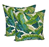 Set of 2 - Indoor / Outdoor Square Decorative Throw / Toss Pillows - Kiwi Green / Cancun Blue Bright Tropical Palm Leaf (17'')