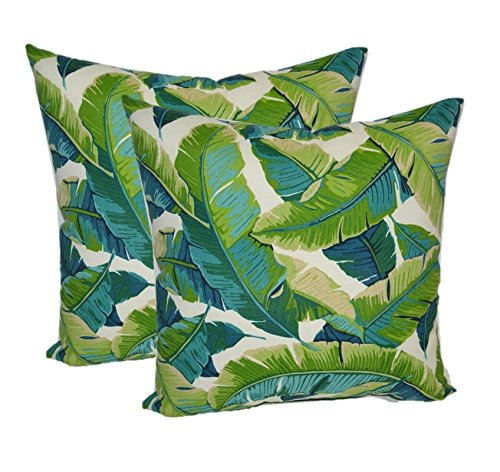 Set of 2 - Indoor / Outdoor Square Decorative Throw / Toss Pillows - Kiwi Green / Cancun Blue Bright Tropical Palm Leaf (20