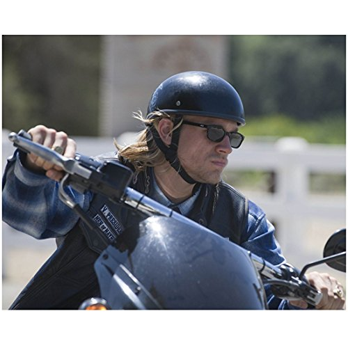 Sons of Anarchy (TV Series 2008 - 2014) 8 inch x 10 inch Photo Charlie Hunnum Turning Bike Left Black Helmet & Shades Blue Plaid Shirt Pose 2 - Helmet Plaid