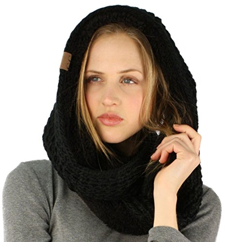 Winter Warm Soft Sherpa Fleece Thick Knit Loop Infinity Ski Hood Scarf Black