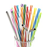 Amian Shop Reusable Straws for 20 30 oz Yeti/Rtic Tumbler,12 Pieces Colorful Plastic Straws and 4 Stainless Steel Straws,BPA-Free,Individually Wrapped Extra Long Drinking Straw,Brushes Included