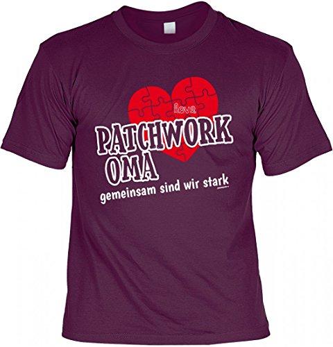 T-Shirt Grossmutter - Patchwork Oma gemeinsam stark - Herz - Geschenk Idee mit Humor zum Muttertag Omatag - bordeaux