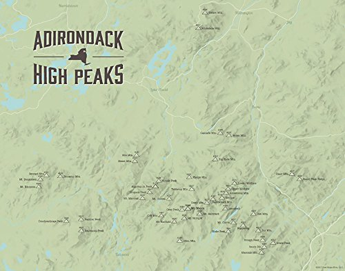 Adirondack High Peaks Map 11x14 Print (Sage) Adirondack High Peaks Map