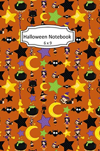 Skeleton Halloween Clipart (Halloween Notebook: Black Cats and Witches Clip Art Images on 6 x 9 Blank Lined Softcover Journal for Notes , Halloween Gift Design Cover Note)