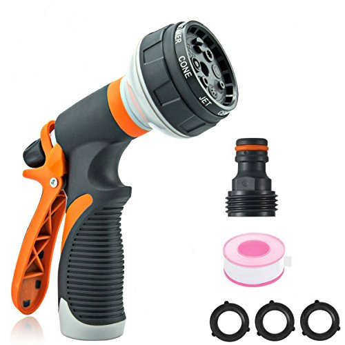 Garden Hose Nozzle Spray Nozzle,VIEE Water Nozzle with Heavy Duty 8 Adjustable Watering Patterns, Slip and Shock Resistant for Ideal Watering Plants, Cleaning, Car Wash and Pets Shower