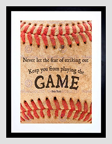 Ruth Framed Babe (The Art Stop Never LET Fear Baseball Sport Quote Typography Babe Ruth Framed Print B12X13949)