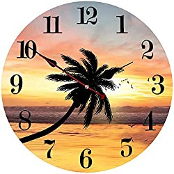 ShuaXin Home and Office Decoration Wood Wall Clock,14 Inch Ultra Big Numerals Modern Style Kitchen Wall Clock,Seascape Design Silent Quartz Wall Clock