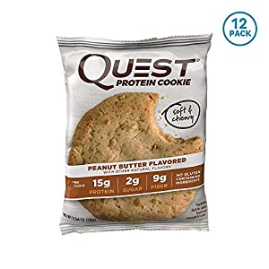Quest Nutrition Protein Cookie, Peanut Butter,2.04 Ounce, Pack of 12