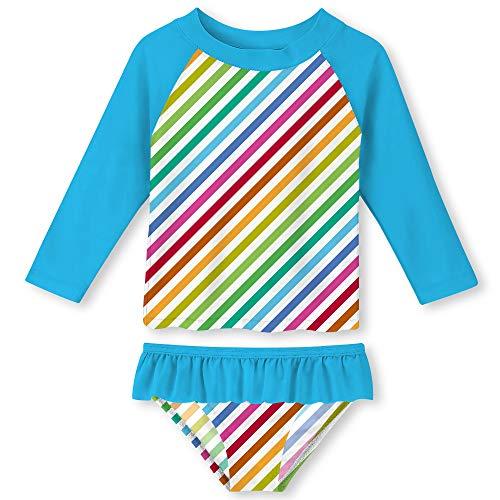 Little Girls Colorful Stripes Swimsuit Rash Guard Set UPF 50+ Sun Protection Stylish Breathable Bathing Suit 3-4T Rainbow-Blue