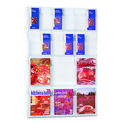 (Safco Products Reveal 6 Magazine and 12 Pamphlet Display, 5600CL, Wall Mountable, Thermoformed Plastic Resin Construction, No Sharp Edges or Corners)