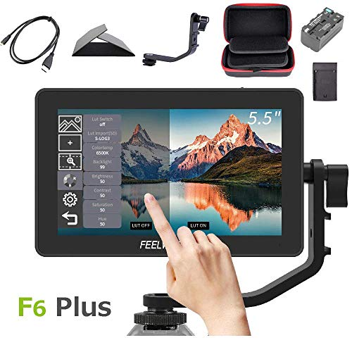 Feelworld F6 Plus +Battery + Charger +Carrying Case 5.5 Inch 3D LUT Touch Screen Field Monitor IPS FHD 1920×1080 Support 4K with Tilt Arm for DSLR Mirrorless Camera