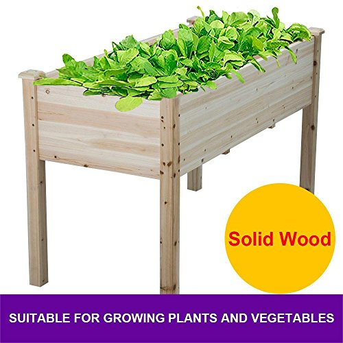 Topeakmart Solid Wooden Raised Vegetable Garden Bed Elevated Planter Kit  Grow Gardening Box   Depth Of