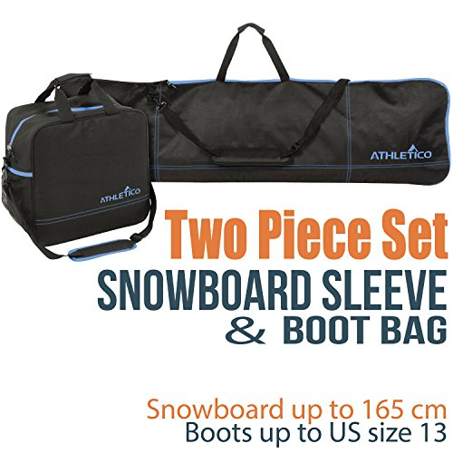 Athletico Two-Piece Snowboard and Boot Bag Combo | Store & Transport Snowboard Up to 165 cm and Boots Up to Size 13 | Includes 1 Snowboard Bag & 1 Boot Bag (Black with Blue Trim)