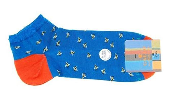 Gallo - Calcetines cortos - para hombre Azul Blu Cobalto Con Api Bianco E Giallo 40