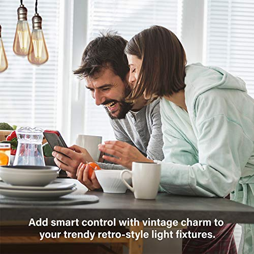 Sengled Smart Light Bulbs Vintage LED Edison Bulb 7.2W (Hub Required) 60 Watt Equivalent LED Filament Smart Bulb, 600LM CRI 90+ Amber Light 2000K Vintage Light Bulb ST19, E26 Base, Amber Glass, 2 Pack