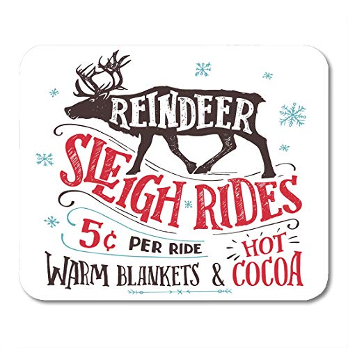 (Emvency Mouse Pads Old Fashioned Reindeer Sleigh Rides Signboard Hand Lettering Sign Vintage The Silhouette of Winter Mousepad 9.5
