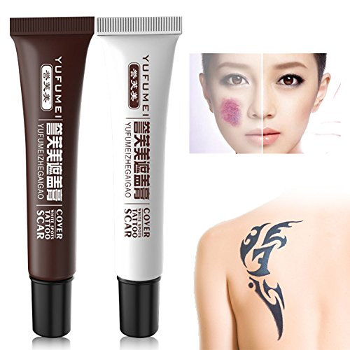 Fancathy Concealer,Tattoo Cover Up Concealer Set,Professional Waterproof Total Coverage Birthmarks Spot Scar Concealer Kit (2 pcs)