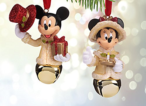 Disney Christmas Mickey And Minnie Mouse Victorian Jingle Bell Ornament Set - Mouse Christmas Ornaments Mickey Disney