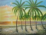 Oil Painting 36''x48'' Hawaii Paradise Beach Palm Tree Sunshine Seascape America Naturalism, BeyondDream Art