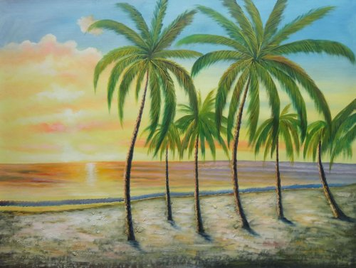 Oil Painting 36''x48'' Hawaii Paradise Beach Palm Tree Sunshine Seascape America Naturalism, BeyondDream Art by BeyondDream
