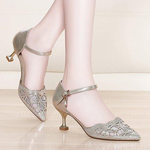 VIVIOO Zapatos de tacón alto Sandalias de tacón alto Sandalias Mujeres con Zapatos de tacón alto salvaje de verano Con una palabra Hebilla Baotou Zapatos Golden