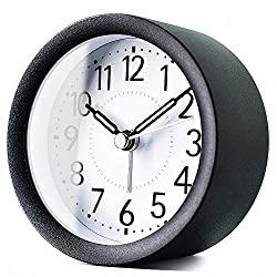 TXL 4 inch Round Metal Analog Alarm Clock Kids' Room Silent Snooze Travel Digital Table Clock with Backlight, Quiet Sweep Luminous Hands, Desk & Shelf Clock for Bedrooms Office Kitchen, Sparkly Black