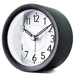 TXL 4 inch Round Metal Analog Alarm Clock Kids' Room Silent Snooze Travel Digital Table Clock with Backlight, Quiet Sweep Luminous Hands, Desk & Shelf Clock for Bedrooms Office Kitchen, Black