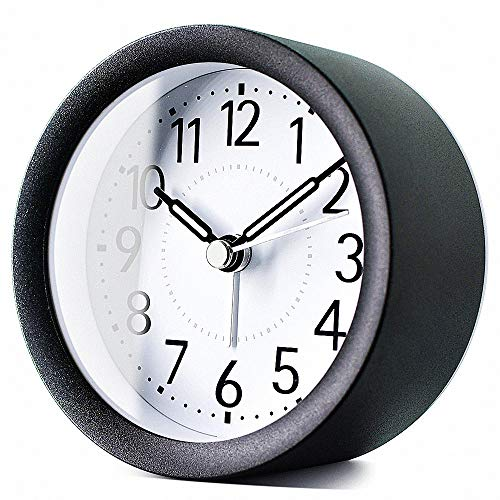 TXL 4 inch Round Metal Analog Alarm Clock Kids' Room Silent Snooze Travel Digital Table Clock with Backlight, Quiet Sweep Luminous Hands, Desk & Shelf Clock for Bedrooms Office Kitchen, Sparkly Black (Clock Round Table)