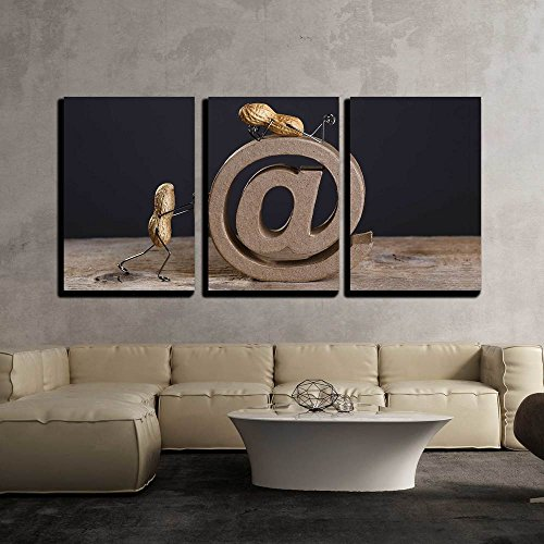 Wall26   3 Piece Canvas Wall Art   Peanut People Pushing A Large At Sign As A Symbol For The Internet And Email   Modern Home Decor Stretched And Framed Ready To Hang   16 X24 X3 Panels