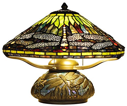 Tiffany Style Table Lamp Dragonfly Glass Shade - Dual Pull Chain Switch - Multicolor - 16